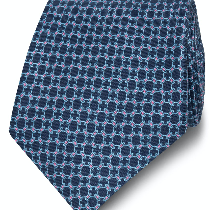 Printed Navy and Pink Chain Link Silk Wide Tie 0
