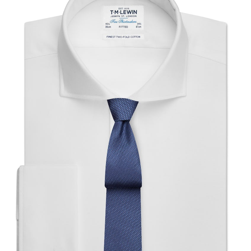 White Twill Fitted Cutaway Collar Shirt
