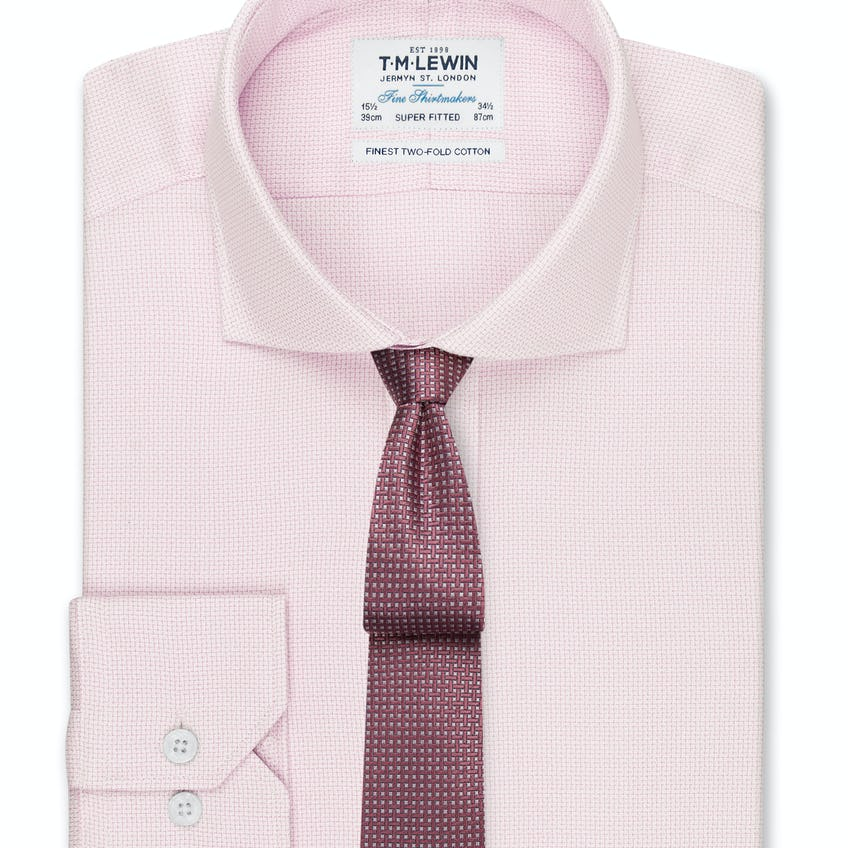 Textured Super Fitted Pink Dual Cuff Shirt