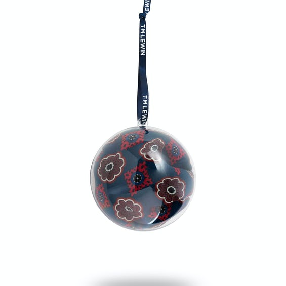 Navy and Red Geometric Floral Handkerchief Bauble 0