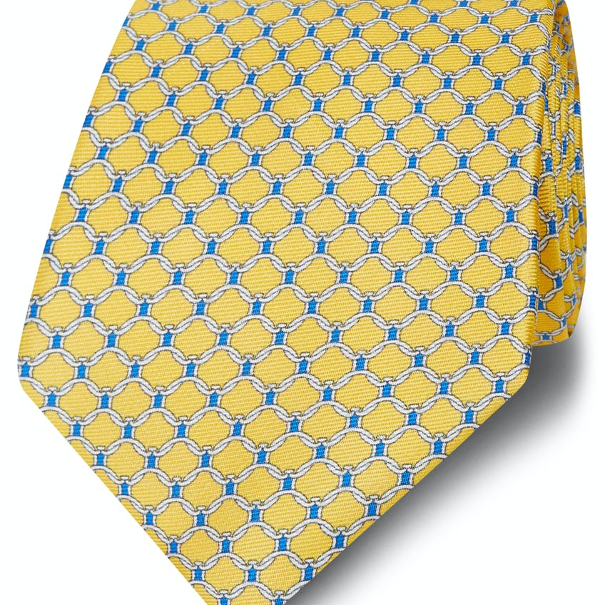 Made in Italy Wide Yellow, Navy and White Chain Link Tie 0