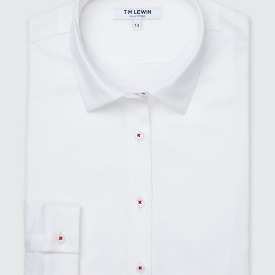 White Shirt with Ditsy Floral Print Trim 0