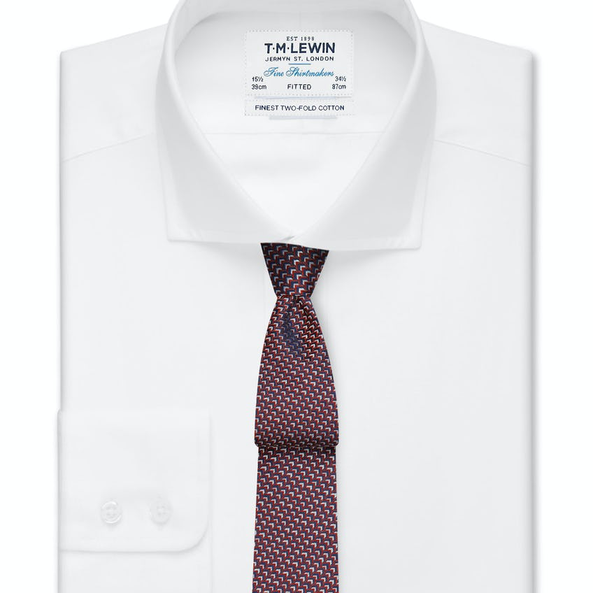 Fitted White Poplin Cutaway Collar Button Cuff Shirt