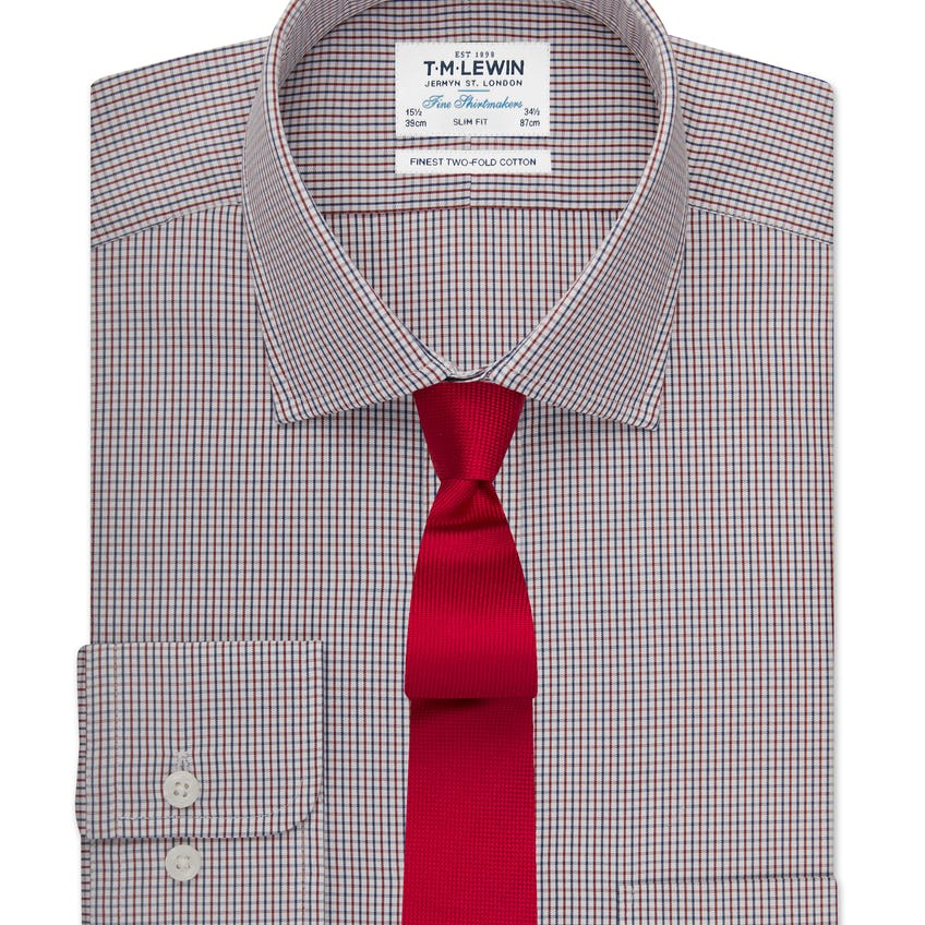 Slim Fit Navy and Red Small Check Shirt 0