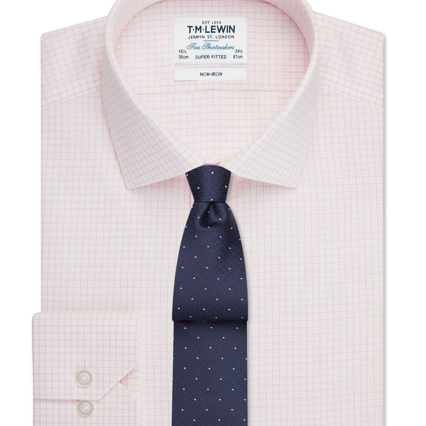 Non-Iron Super Fitted Pink Check Single Cuff Shirt 0