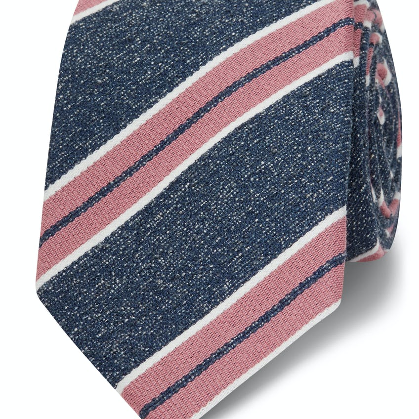 Navy and Pink College Stripe Wool and Silk Slim Tie 0