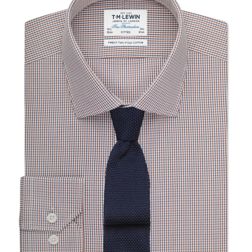 Fitted Navy and Red Small Check Shirt 0