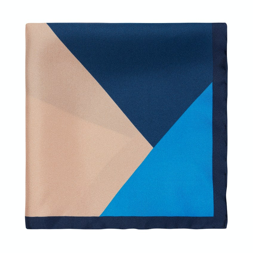 Silk Navy and Neutral Colour Blocked Pocket Square