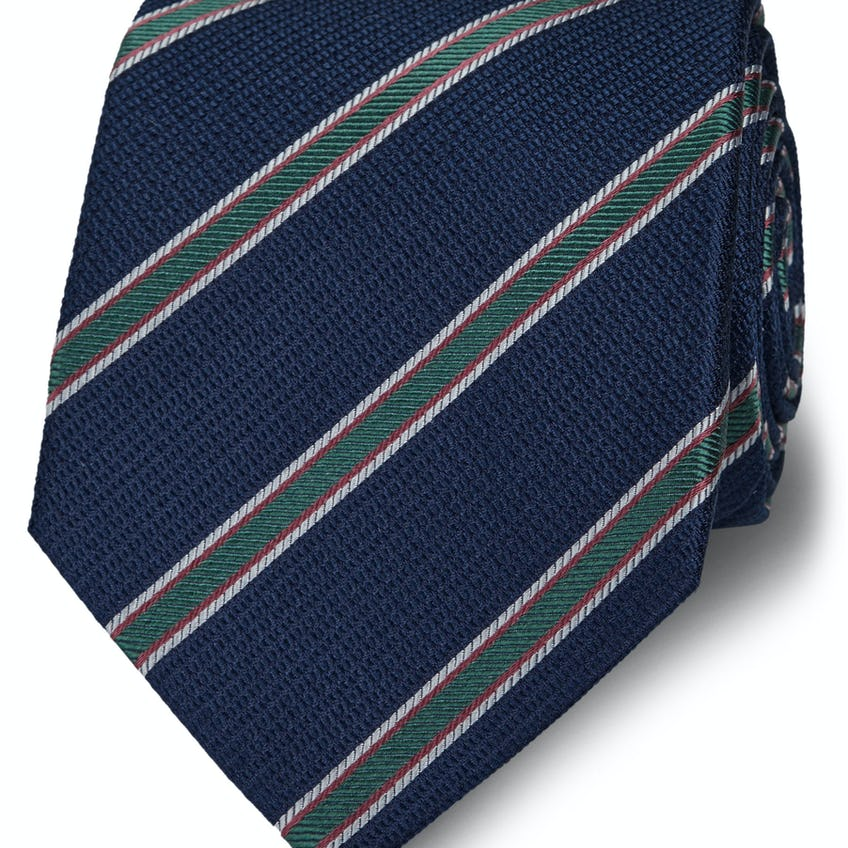 Wide Navy and Green Three Colour Stripe Silk Tie 0