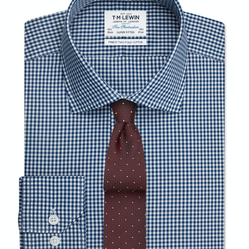 Super Fitted Navy Gingham Button Cuff Shirt 0