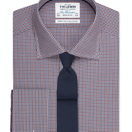 Regular Fit Burgundy and Navy Micro Check Shirt – Double Cuff 0