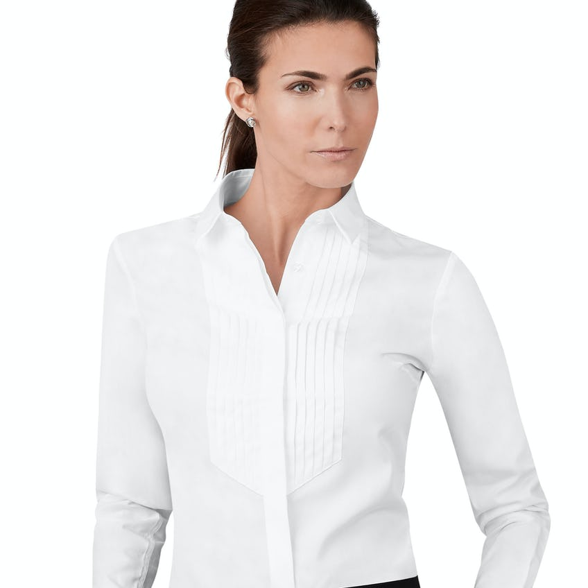 Fitted White Pleat Front Shirt