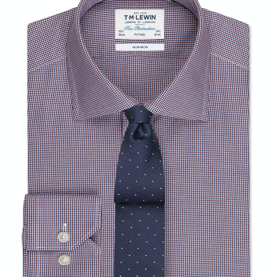Non-Iron Fitted Burgundy and Navy Dogtooth Shirt – Button Cuff 0