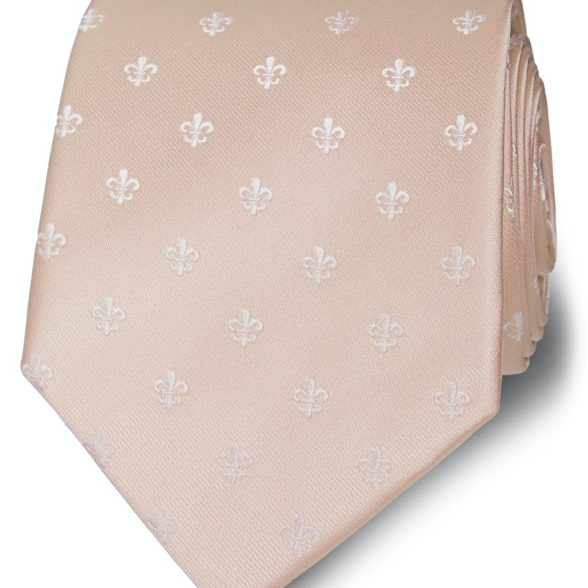 Wide Champagne and White Fleur De Lys Silk Tie