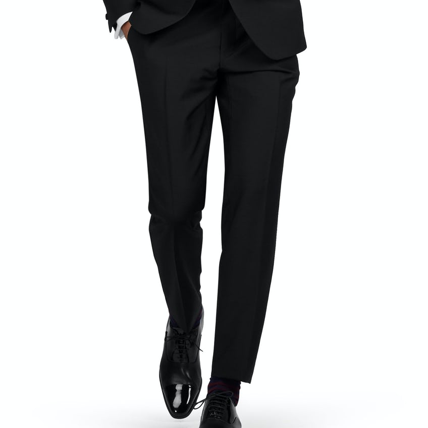 Nicholas Slim Fit Black Wool Mohair Dinner Trousers