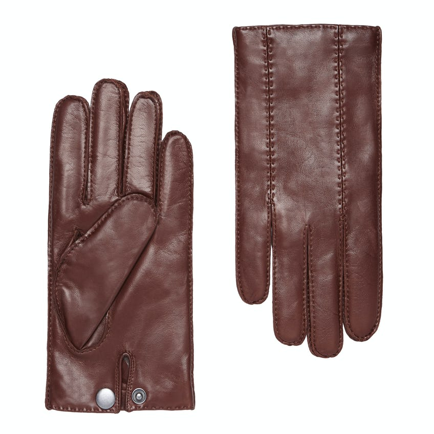 Luxury Italian Leather Tan Cashmere-Lined Gloves 0