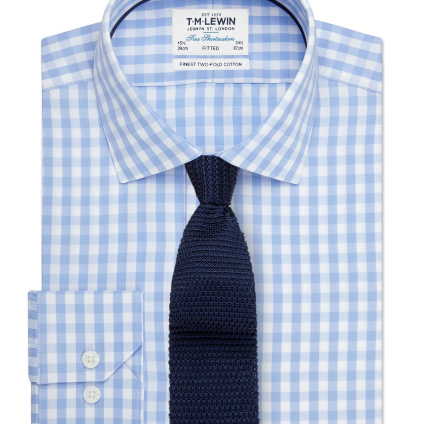 Block Check Fitted Blue Single Cuff Shirt 0