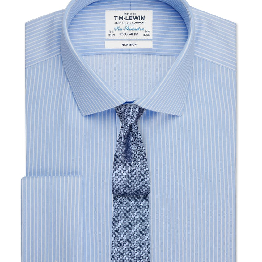 Non-Iron Regular Fit Blue and White Stripe Double Cuff Shirt 0