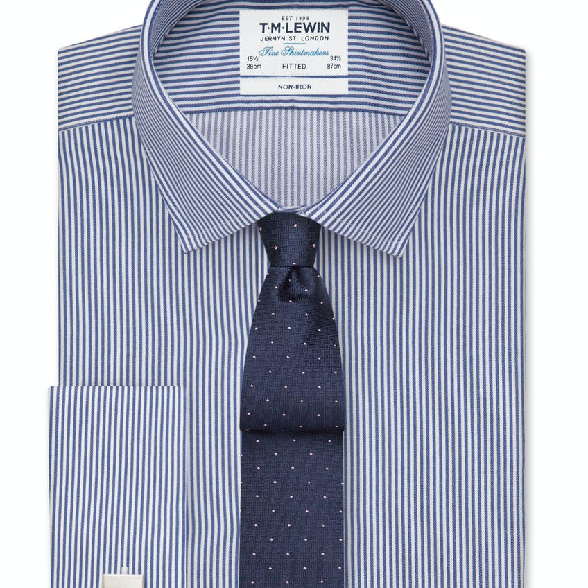 Non-Iron Navy Bengal Stripe Fitted Shirt 0