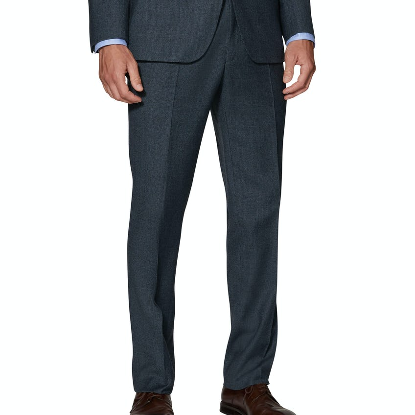 Charlton Infinity Active Slim Fit Blue Micro Puppytooth Merino WoolTrousers 0