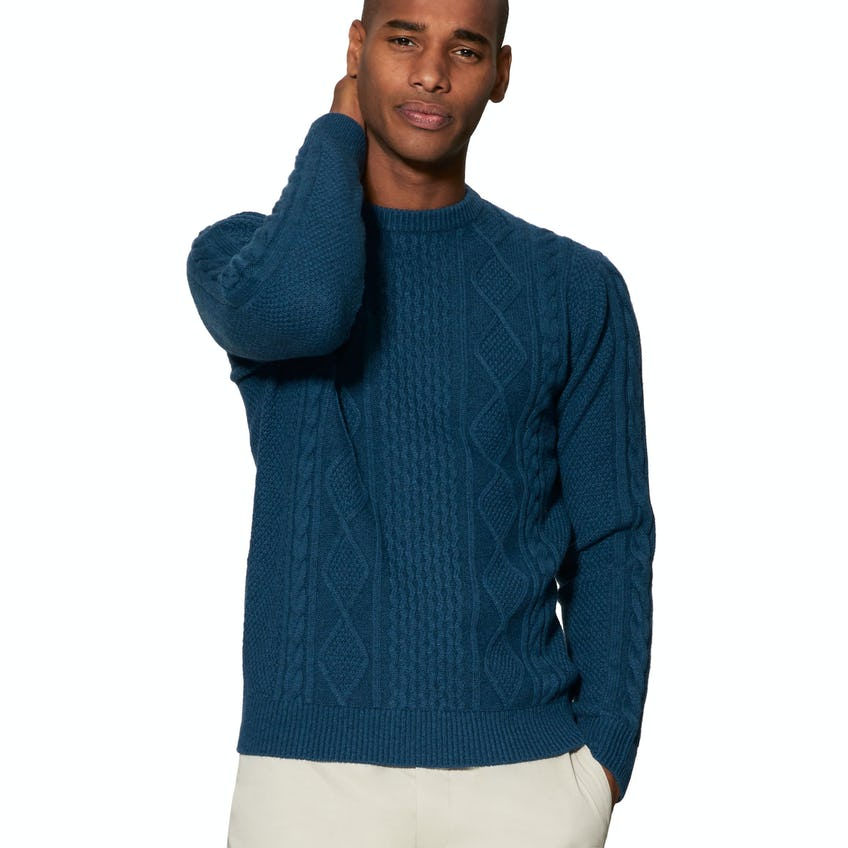 Skye Chunky Cable Knit Teal Slim Fit Jumper 0