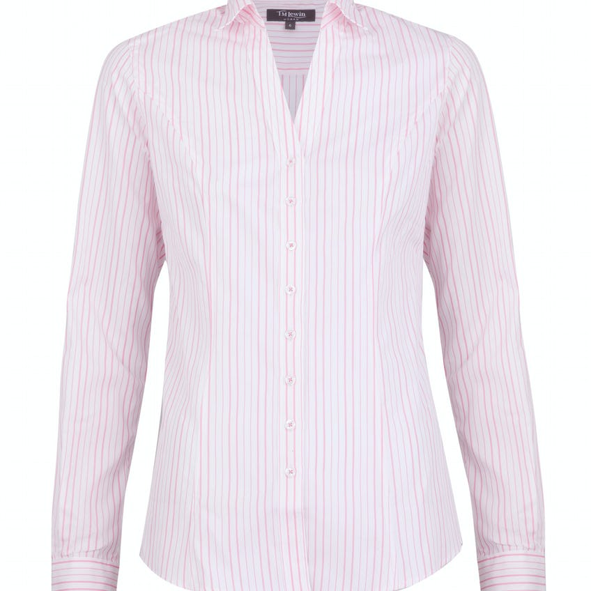 Fitted Pink Stripe Shirt 0