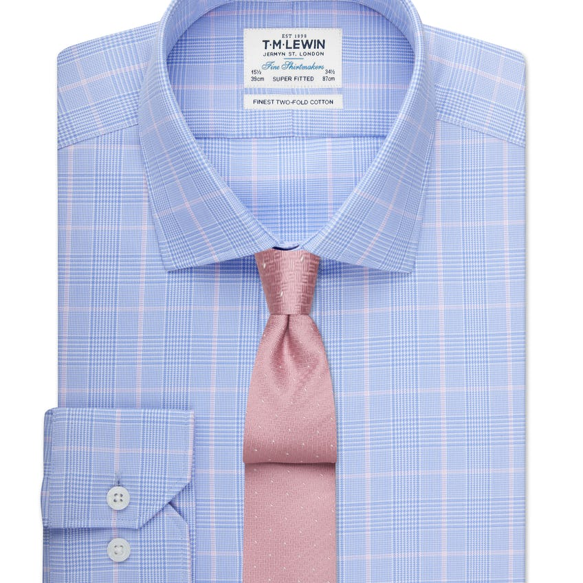 Super Fitted Blue and Pink Overcheck Shirt 0