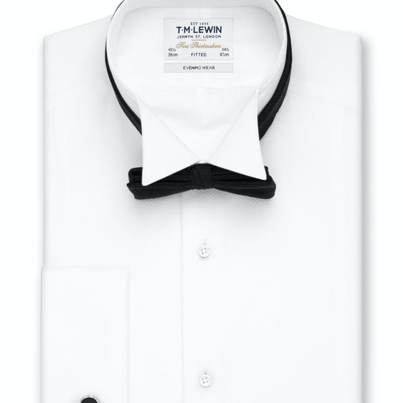 Marcella Wing Collar Fitted Evening Dress Shirt 0