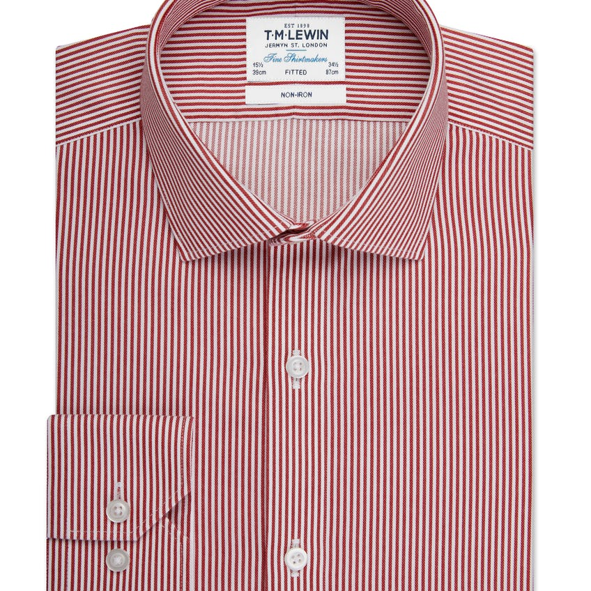 Non-Iron Fitted Red Stripe Single Cuff Shirt 0