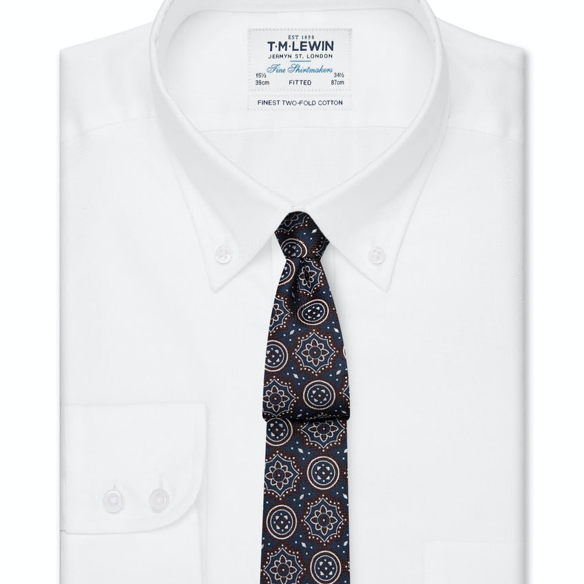 Fitted White Oxford Button Down Shirt 0