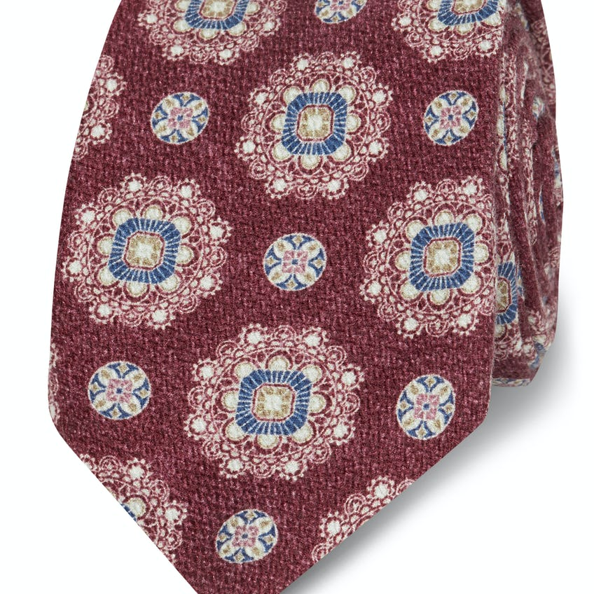 Red and Blue Geometric Floral Silk Slim Tie 0