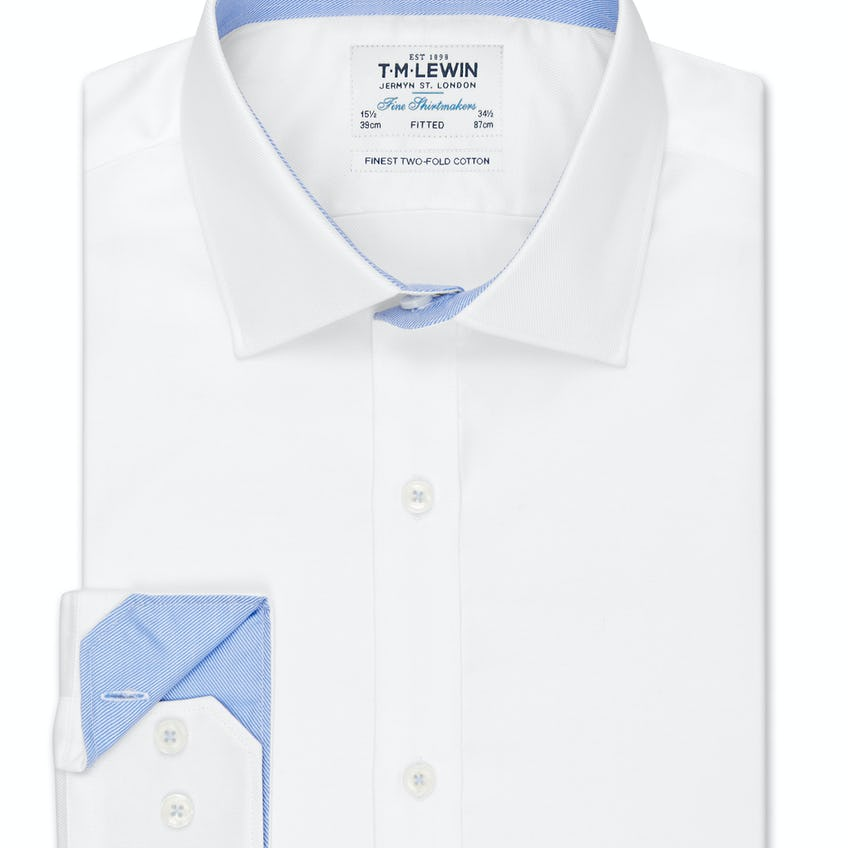 White Twill Fitted Button Cuff Shirt 0