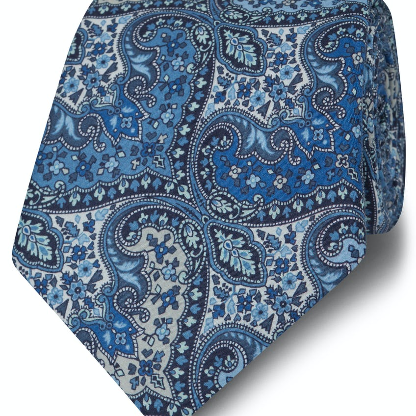 Made with Liberty Fabric Wide Blue Spitalfields Print Tie 0