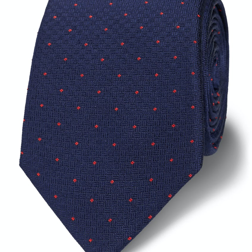 Slim Navy and Red Textured Pin Spot Tie 0