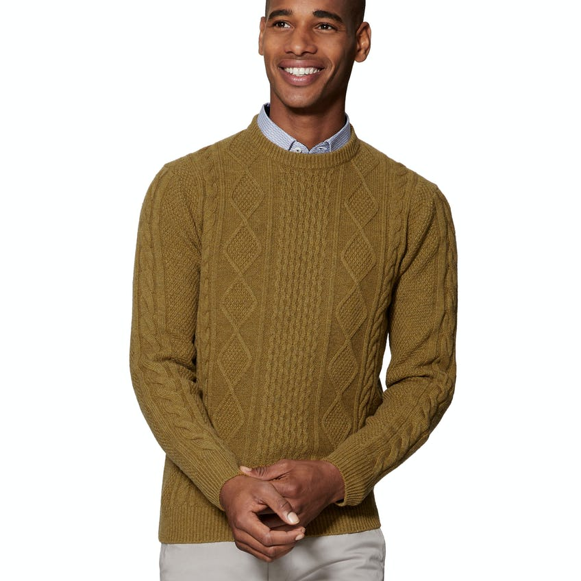 Skye Chunky Cable Knit Mustard Slim Fit Jumper 0