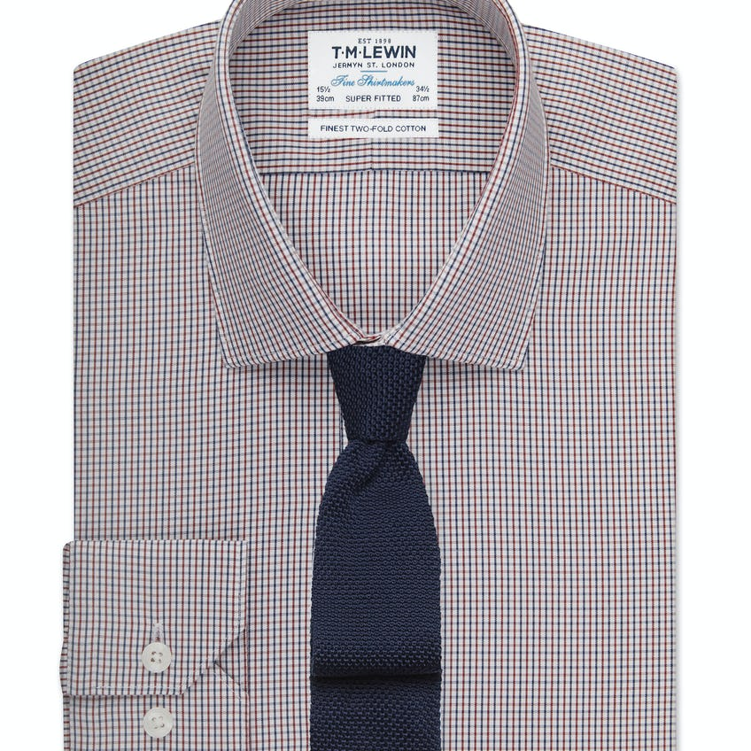 Super Fitted Navy and Red Small Check Shirt 0