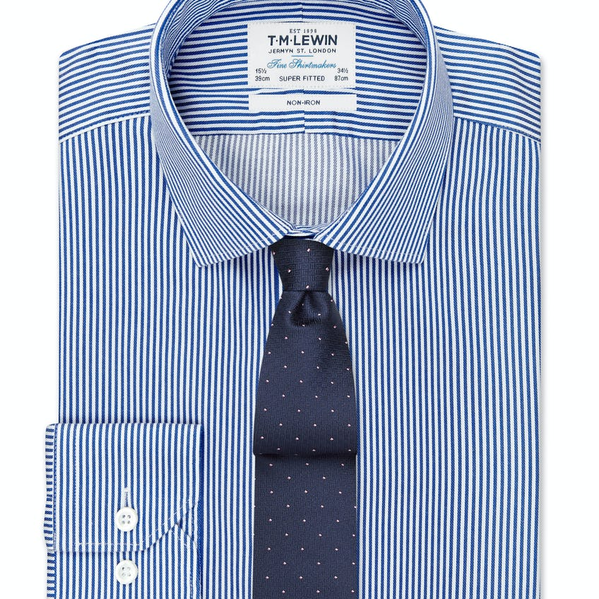 Non-Iron Navy Bengal Stripe Super Fitted Shirt 0