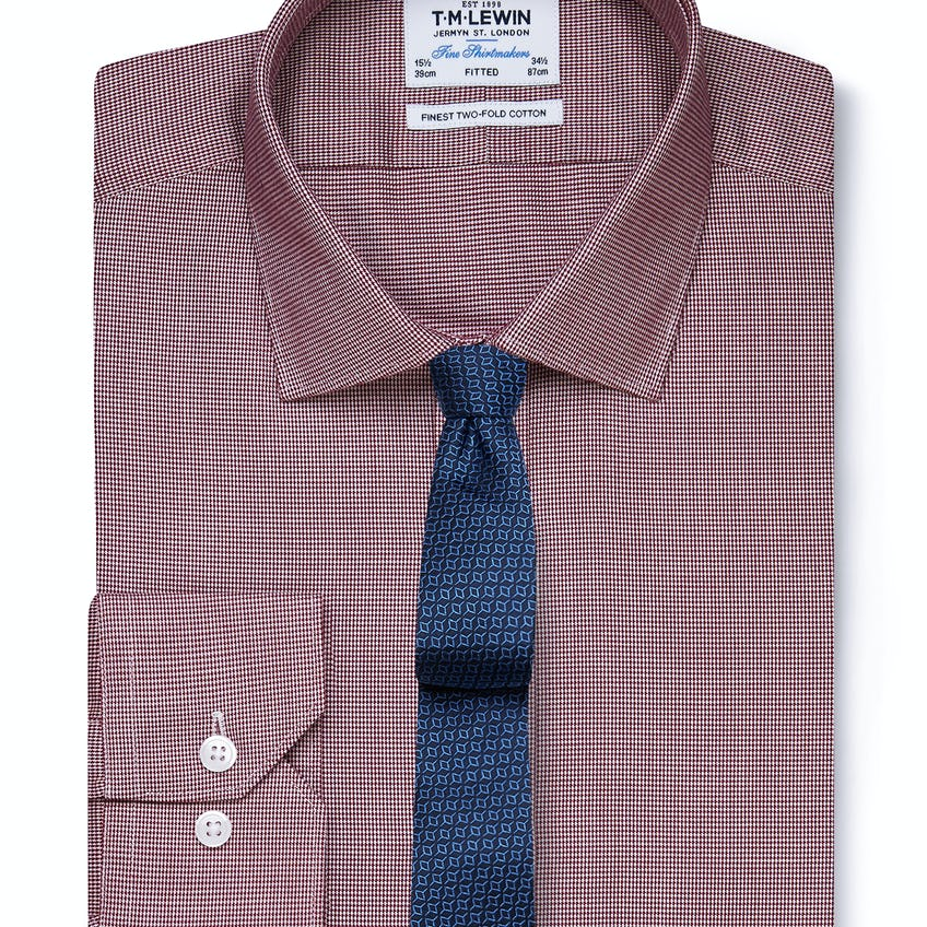 Fitted Burgundy Dogtooth Shirt - Button Cuff 0