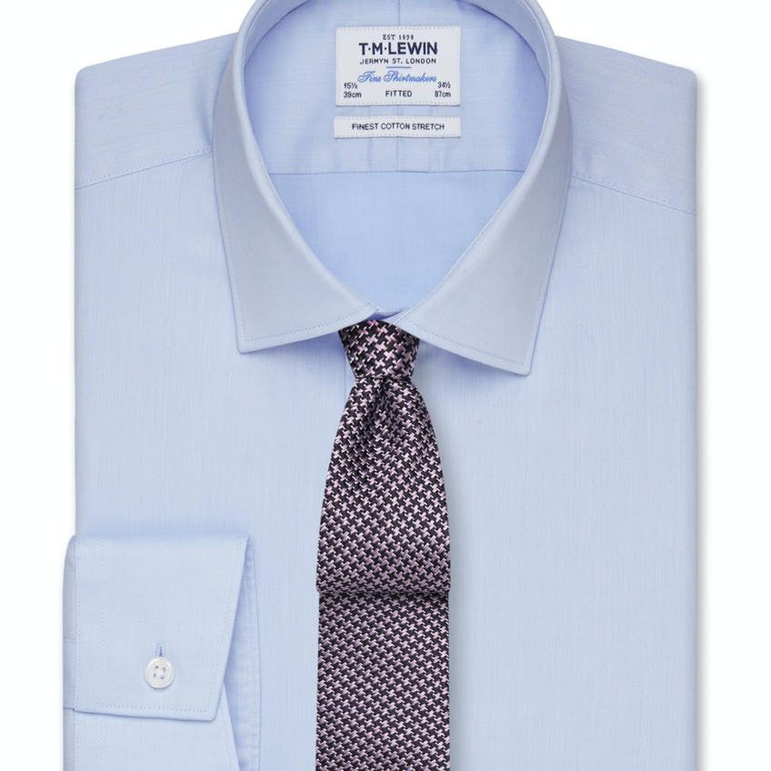 Stretch Cotton Fitted Blue Shirt - Button Cuff