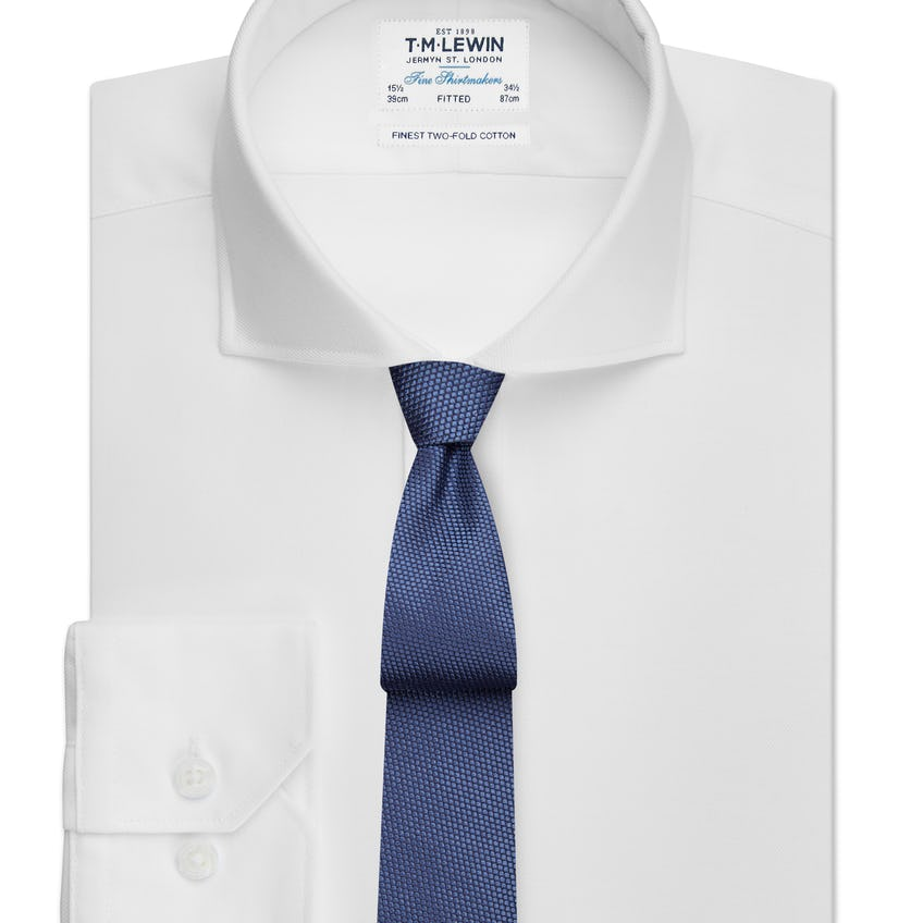 Fitted White Twill Cutaway Collar Shirt