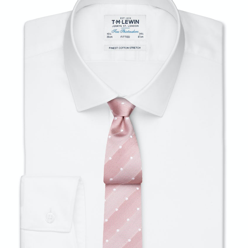 Stretch Cotton Fitted White Shirt - Button Cuff 0