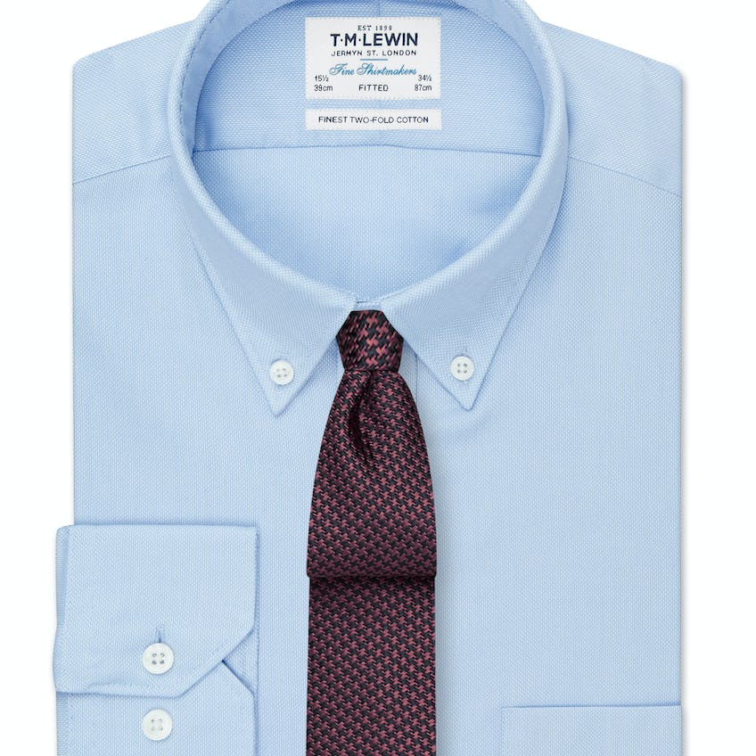 Fitted Blue Oxford Button Down Shirt