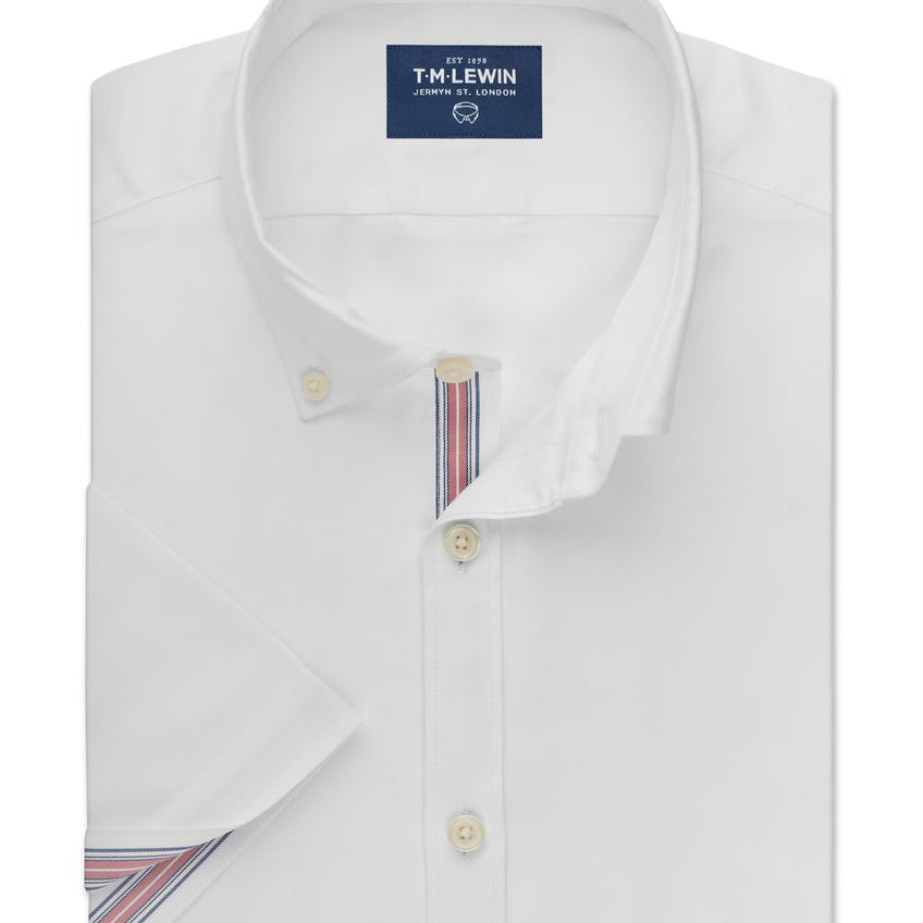 Oxford Selvedge Slim Fit White and Pink Half Sleeve Shirt 0