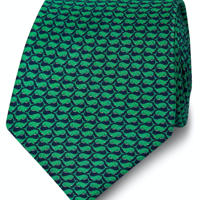 Wide Navy and Green Whale Print Silk Tie 0