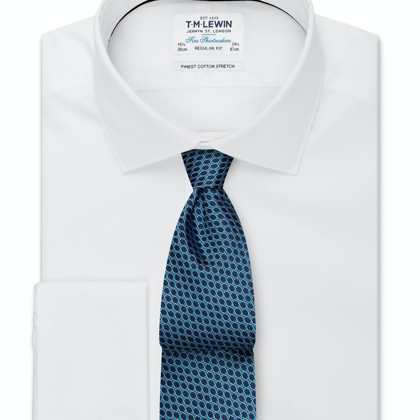 Stretch Cotton Regular Fit White Double Cuff Shirt 0