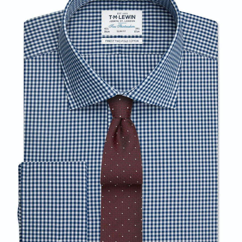 Navy Gingham Slim Double Cuff Shirt