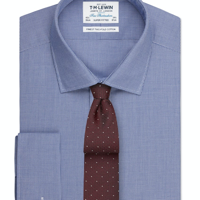 Super Fitted Navy Micro Check Poplin Shirt - Double Cuff 0