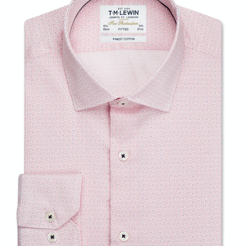Constellation Print Fitted Pink Single Cuff Shirt 0