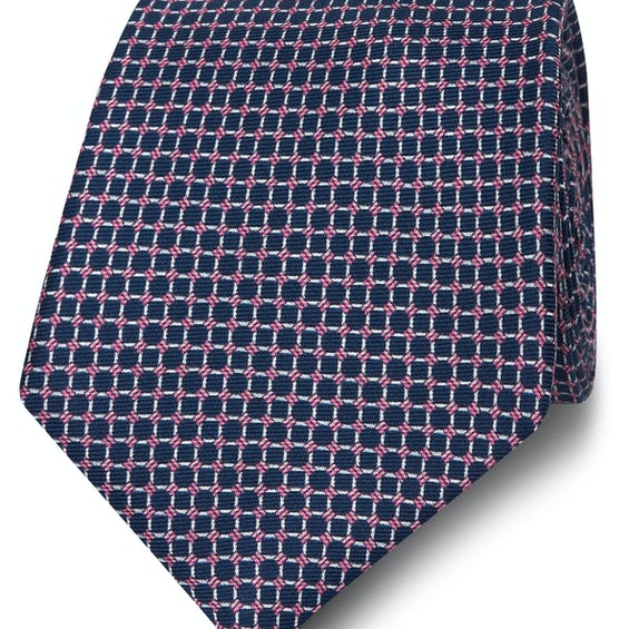 Wide Navy and Pink Small Chain Silk Tie 0