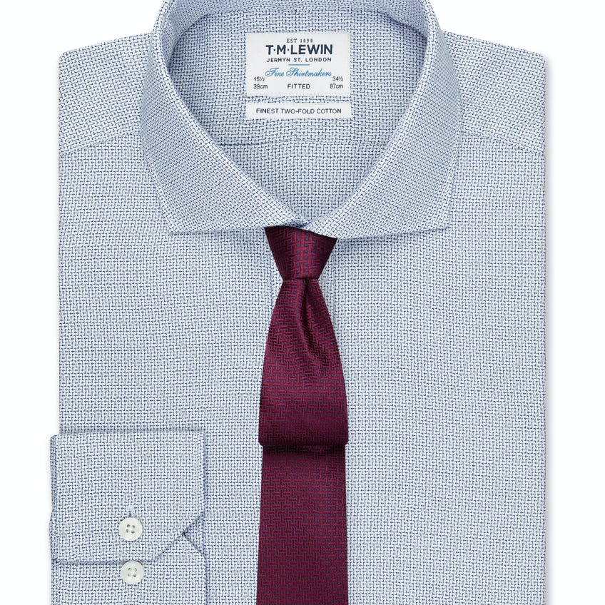 Textured Fitted Navy Dual Cuff Shirt 0